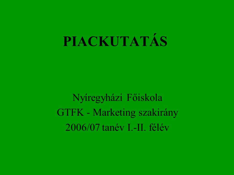 PIACKUTATÁS Nyíregyházi Főiskola GTFK - Marketing szakirány 2006/07 tanév I.-II. félév