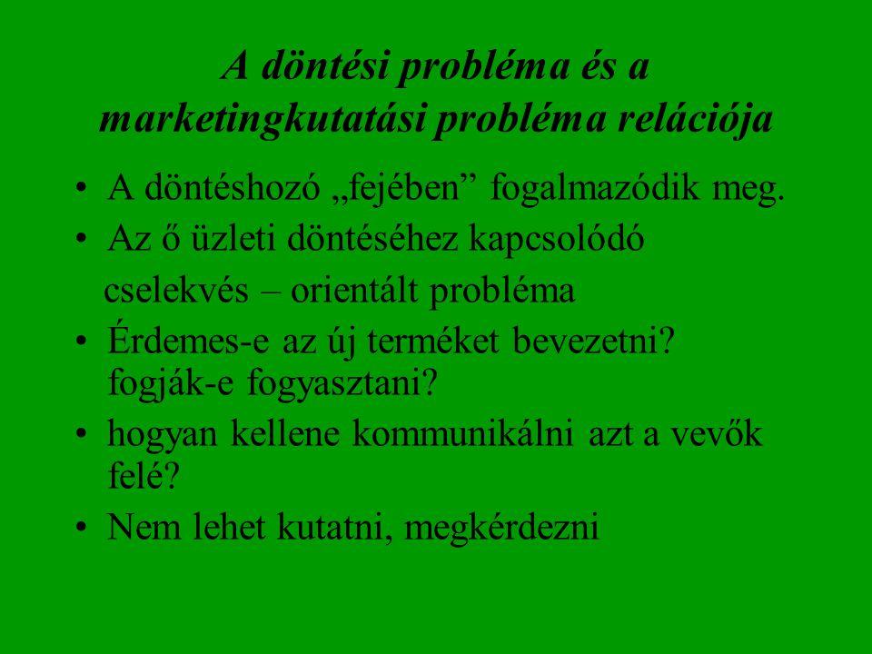 """A döntési probléma és a marketingkutatási probléma relációja A döntéshozó """"fejében"""" fogalmazódik meg. Az ő üzleti döntéséhez kapcsolódó cselekvés – or"""