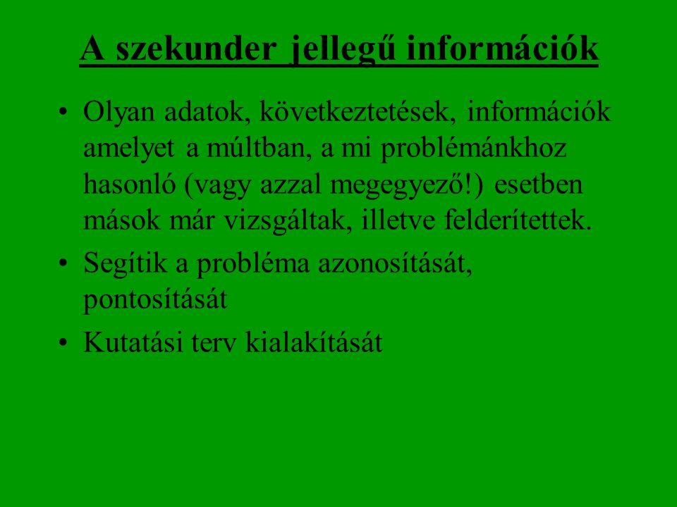 A szekunder jellegű információk Olyan adatok, következtetések, információk amelyet a múltban, a mi problémánkhoz hasonló (vagy azzal megegyező!) esetb