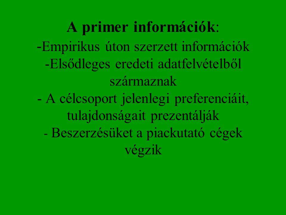 A primer információk: - Empirikus úton szerzett információk -Elsődleges eredeti adatfelvételből származnak - A célcsoport jelenlegi preferenciáit, tul