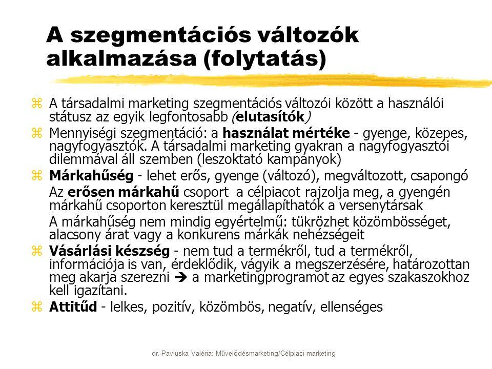 dr. Pavluska Valéria: Művelődésmarketing/Célpiaci marketing A szegmentációs változók alkalmazása (folytatás) zA társadalmi marketing szegmentációs vál