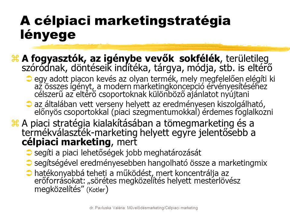 dr. Pavluska Valéria: Művelődésmarketing/Célpiaci marketing A célpiaci marketingstratégia lényege zA fogyasztók, az igénybe vevők sokfélék, területile