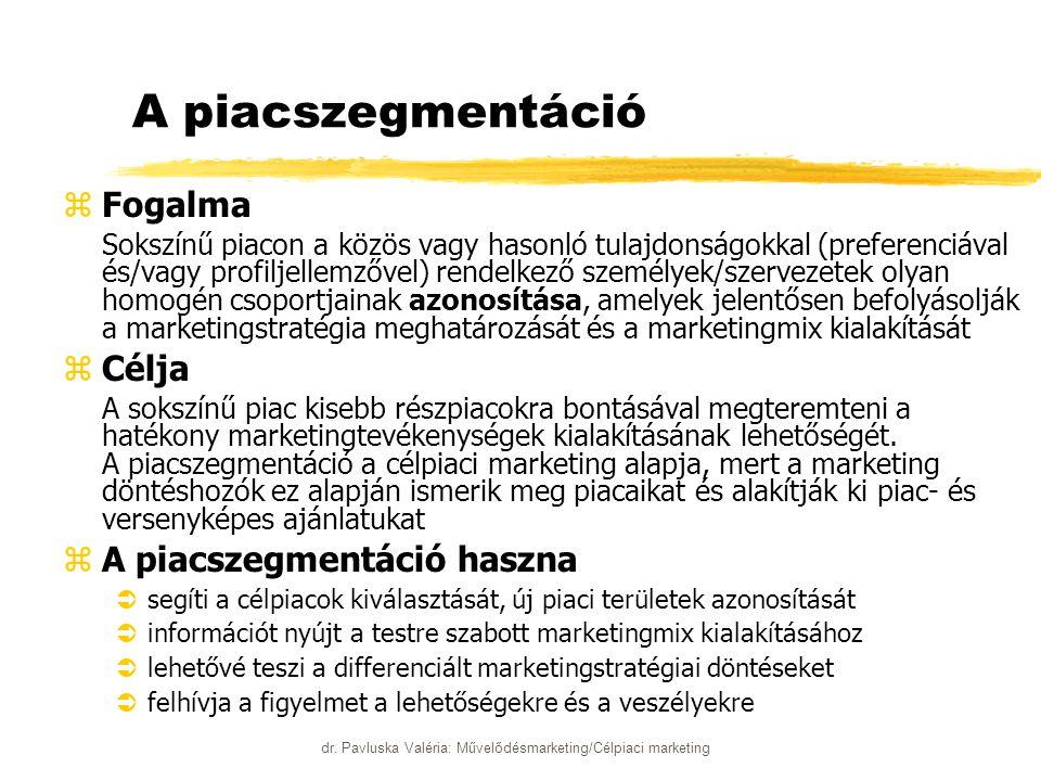 dr. Pavluska Valéria: Művelődésmarketing/Célpiaci marketing A piacszegmentáció zFogalma zSokszínű piacon a közös vagy hasonló tulajdonságokkal (prefer