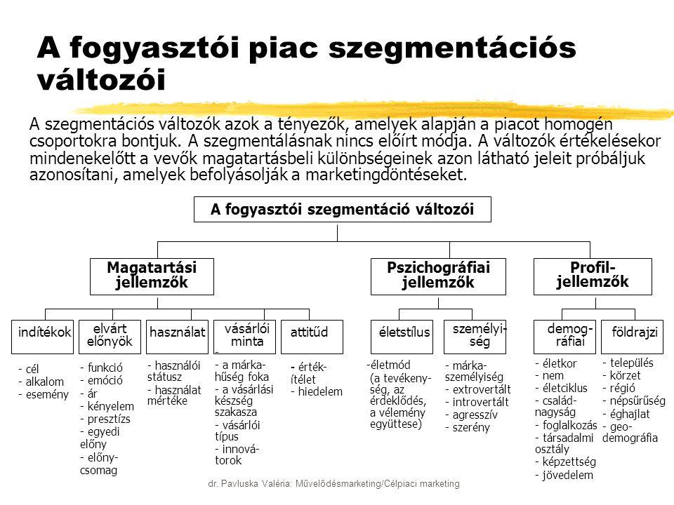 dr. Pavluska Valéria: Művelődésmarketing/Célpiaci marketing A fogyasztói piac szegmentációs változói A szegmentációs változók azok a tényezők, amelyek