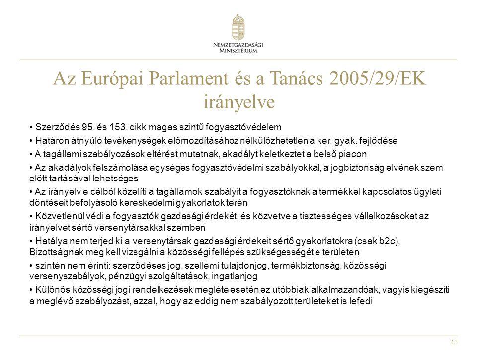 13 Az Európai Parlament és a Tanács 2005/29/EK irányelve Szerződés 95.