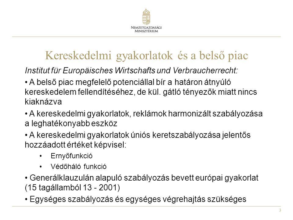 3 Kereskedelmi gyakorlatok és a belső piac Institut für Europäisches Wirtschafts und Verbraucherrecht: A belső piac megfelelő potenciállal bír a határon átnyúló kereskedelem fellendítéséhez, de kül.