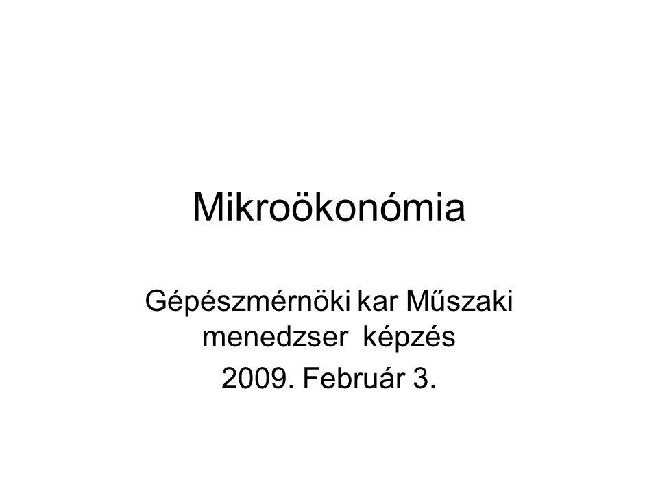 Mikroökonómia Gépészmérnöki kar Műszaki menedzser képzés 2009. Február 3.
