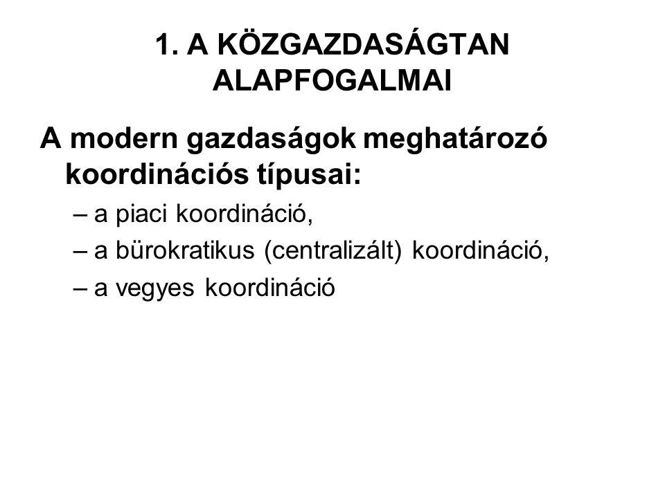 1. A KÖZGAZDASÁGTAN ALAPFOGALMAI A modern gazdaságok meghatározó koordinációs típusai: –a piaci koordináció, –a bürokratikus (centralizált) koordináci