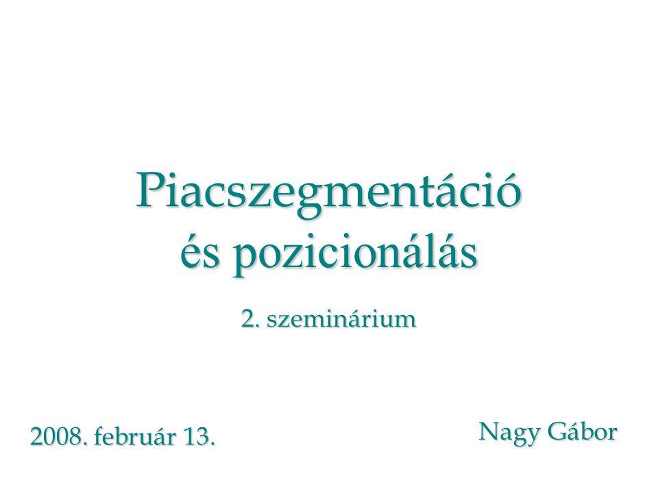 Piacszegmentáció és pozicionálás 2. szeminárium Nagy Gábor 2008. február 13.