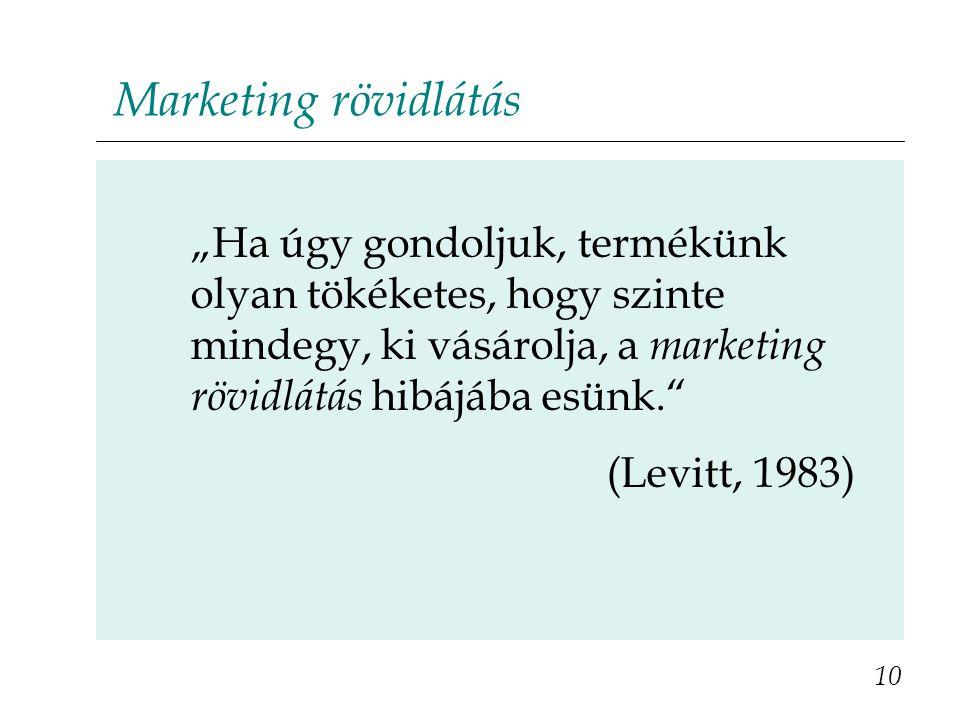 """Marketing rövidlátás """"Ha úgy gondoljuk, termékünk olyan tökéketes, hogy szinte mindegy, ki vásárolja, a marketing rövidlátás hibájába esünk. (Levitt, 1983) 10"""