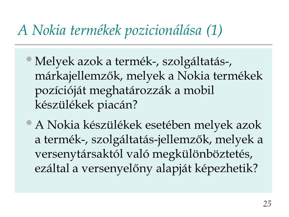 A Nokia termékek pozicionálása (1) Melyek azok a termék-, szolgáltatás-, márkajellemzők, melyek a Nokia termékek pozícióját meghatározzák a mobil kész