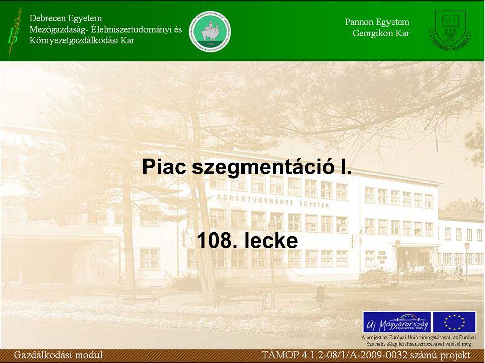 Piac szegmentáció I. 108. lecke