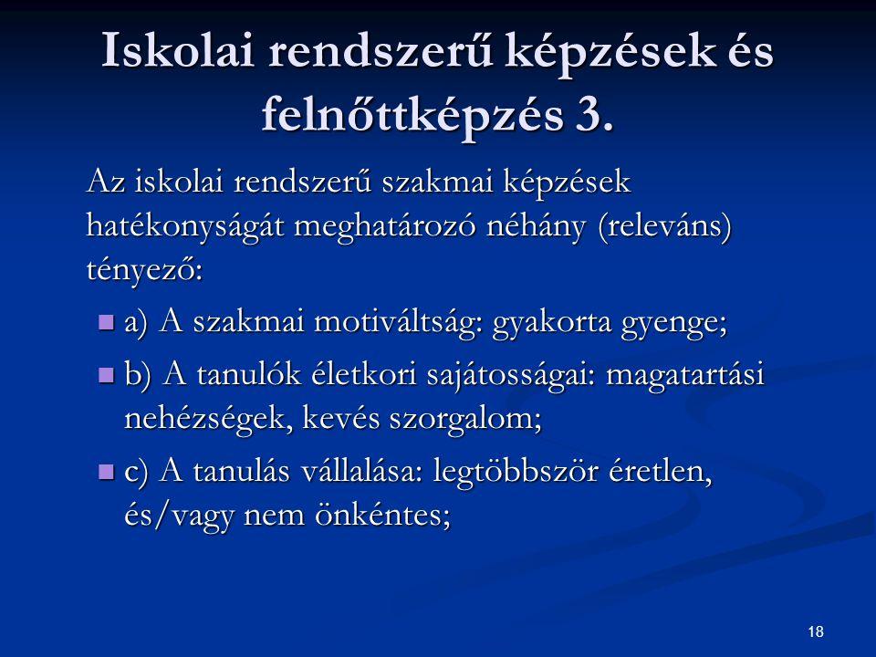18 Iskolai rendszerű képzések és felnőttképzés 3.