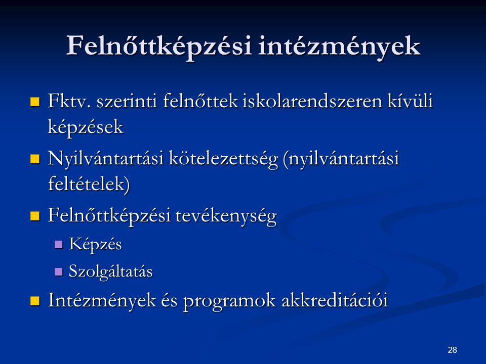 28 Felnőttképzési intézmények Fktv. szerinti felnőttek iskolarendszeren kívüli képzések Fktv.