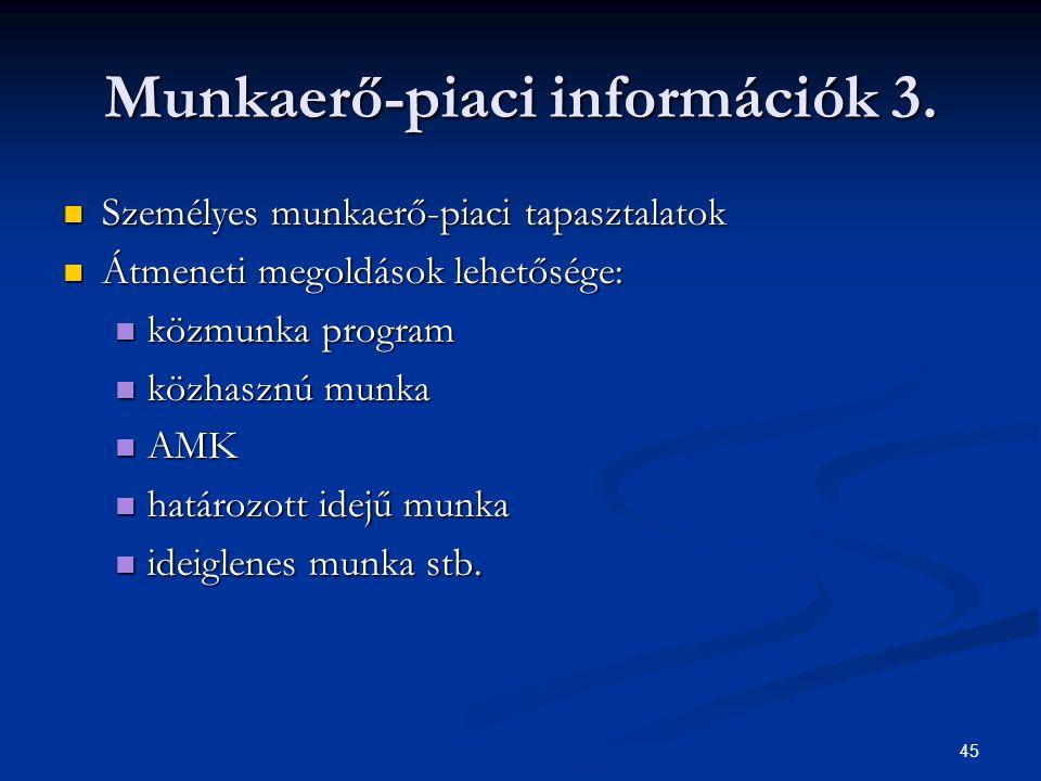 45 Munkaerő-piaci információk 3.
