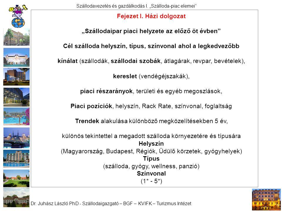 """Dr. Juhász László PhD - Szállodaigazgató – BGF – KVIFK – Turizmus Intézet Szállodavezetés és gazdálkodás I. """"Szálloda-piac elemei"""" Fejezet I. Házi dol"""