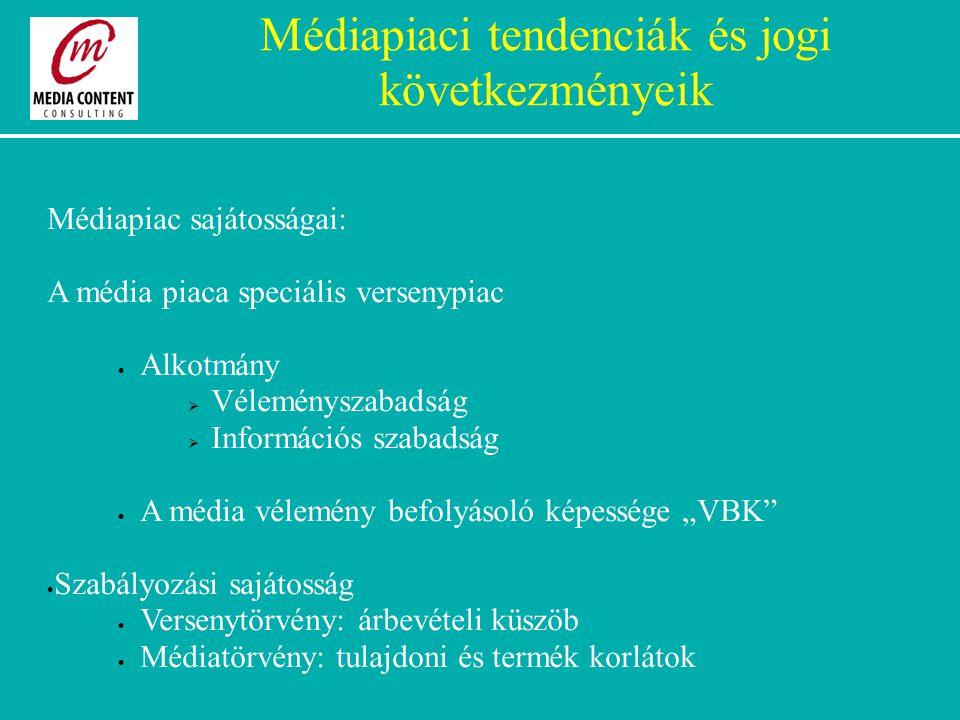 """Médiapiac sajátosságai: A média piaca speciális versenypiac  Alkotmány  Véleményszabadság  Információs szabadság  A média vélemény befolyásoló képessége """"VBK  Szabályozási sajátosság  Versenytörvény: árbevételi küszöb  Médiatörvény: tulajdoni és termék korlátok Médiapiaci tendenciák és jogi következményeik"""