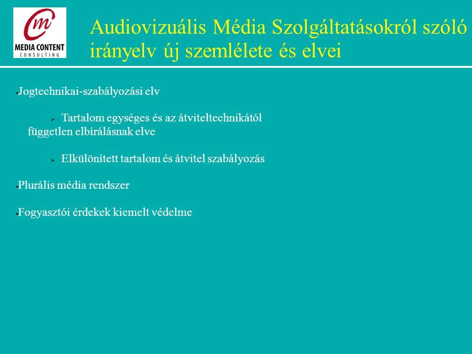 Audiovizuális Média Szolgáltatásokról szóló irányelv új szemlélete és elvei  Jogtechnikai-szabályozási elv  Tartalom egységes és az átviteltechnikától független elbírálásnak elve  Elkülönített tartalom és átvitel szabályozás  Plurális média rendszer  Fogyasztói érdekek kiemelt védelme