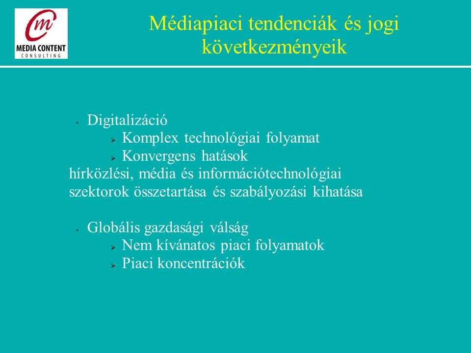 Médiapiaci tendenciák és jogi következményeik Digitalizáció  Komplex technológiai folyamat  Konvergens hatások hírközlési, média és információtechnológiai szektorok összetartása és szabályozási kihatása Globális gazdasági válság  Nem kívánatos piaci folyamatok  Piaci koncentrációk