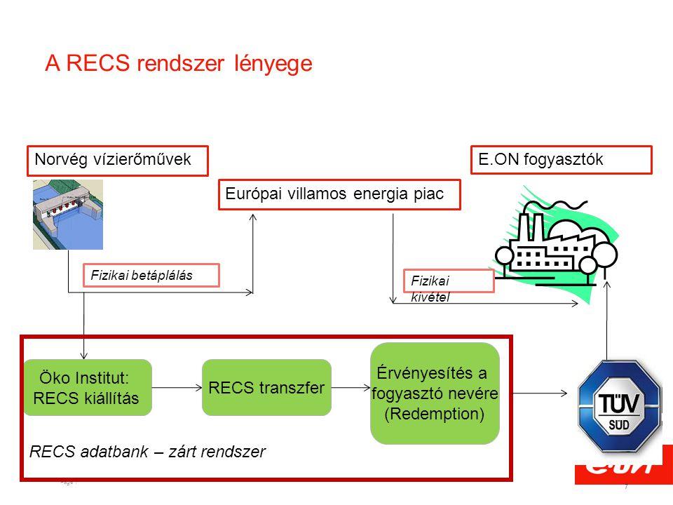Page 7 A RECS rendszer lényege 7 Norvég vízierőművek Európai villamos energia piac E.ON fogyasztók Fizikai betáplálás Fizikai kivétel Öko Institut: RE