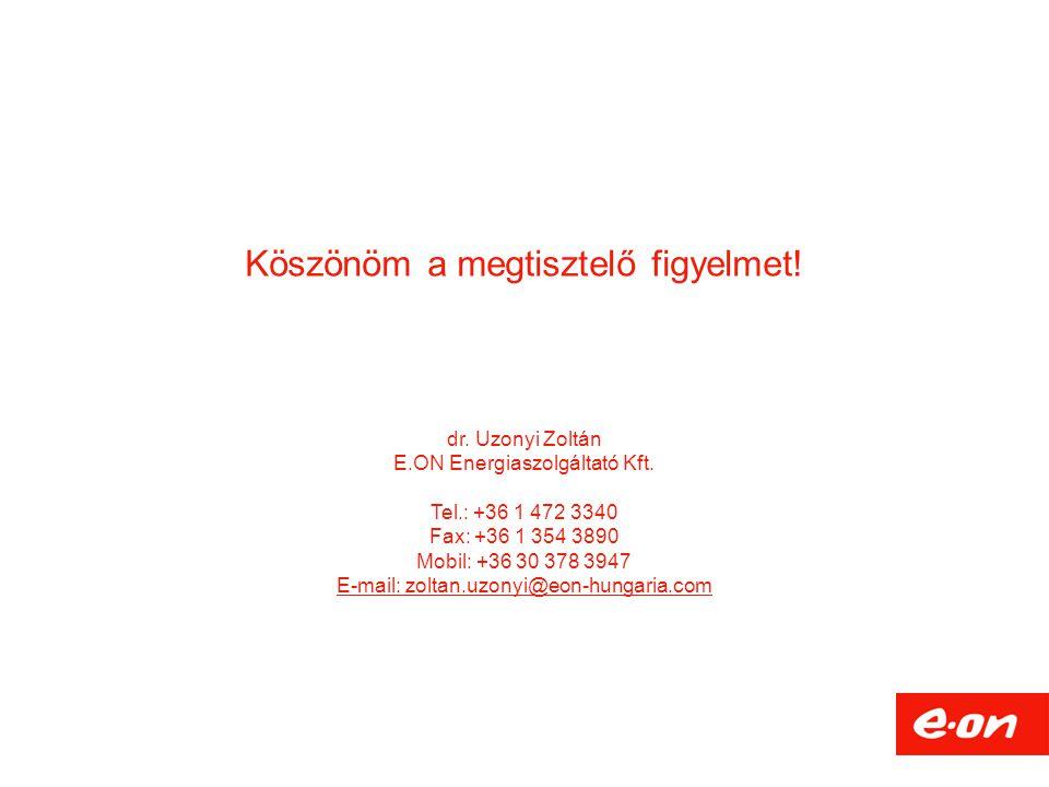 Köszönöm a megtisztelő figyelmet! dr. Uzonyi Zoltán E.ON Energiaszolgáltató Kft. Tel.: +36 1 472 3340 Fax: +36 1 354 3890 Mobil: +36 30 378 3947 E-mai