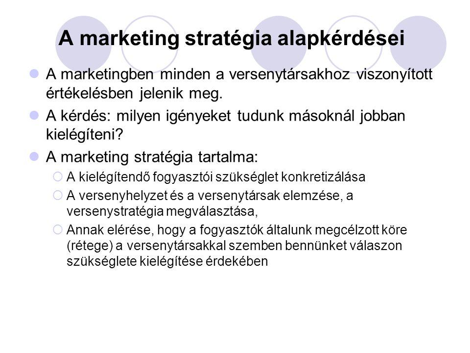 A marketing stratégia alapkérdései A marketingben minden a versenytársakhoz viszonyított értékelésben jelenik meg. A kérdés: milyen igényeket tudunk m