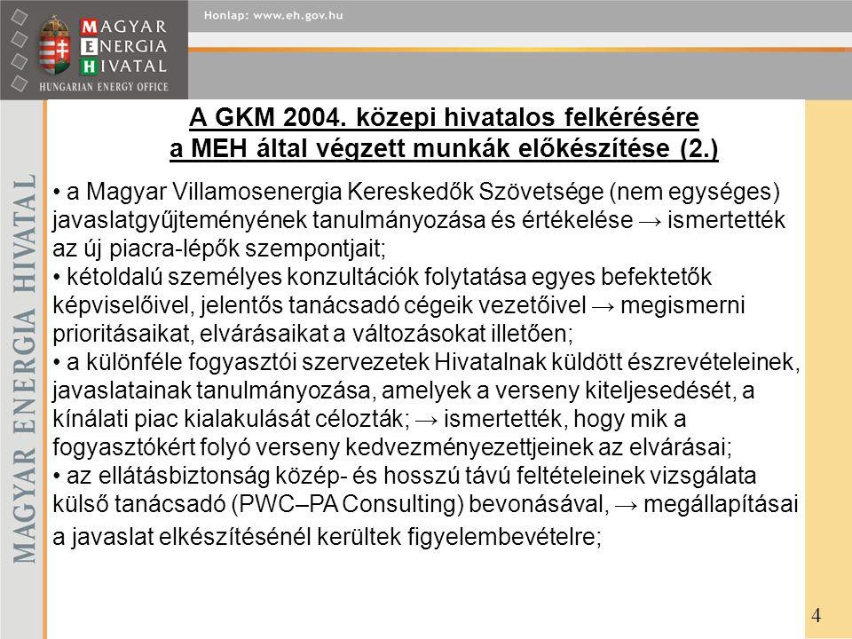 A GKM 2004. közepi hivatalos felkérésére a MEH által végzett munkák előkészítése (2.) 4 a Magyar Villamosenergia Kereskedők Szövetsége (nem egységes)