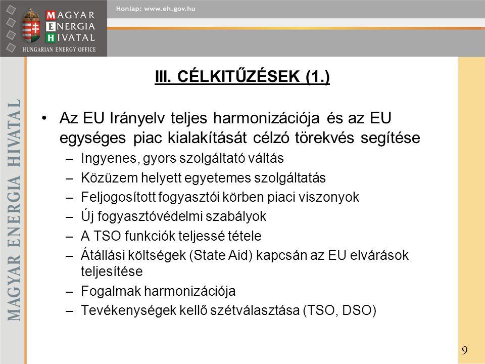 III. CÉLKITŰZÉSEK (1.) Az EU Irányelv teljes harmonizációja és az EU egységes piac kialakítását célzó törekvés segítése –Ingyenes, gyors szolgáltató v