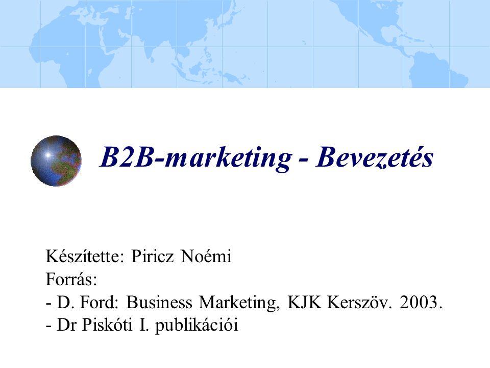 B2B-marketing - Bevezetés Készítette: Piricz Noémi Forrás: - D. Ford: Business Marketing, KJK Kerszöv. 2003. - Dr Piskóti I. publikációi