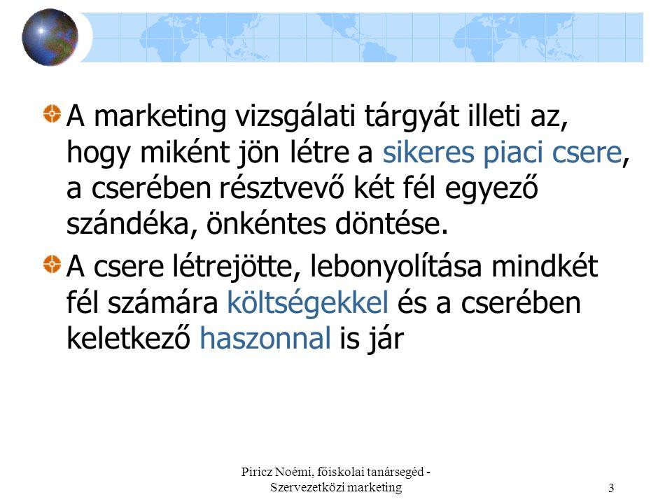 Piricz Noémi, főiskolai tanársegéd - Szervezetközi marketing3 A marketing vizsgálati tárgyát illeti az, hogy miként jön létre a sikeres piaci csere, a