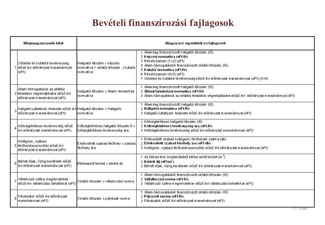 13. oldal Bevételi finanszírozási fajlagosok