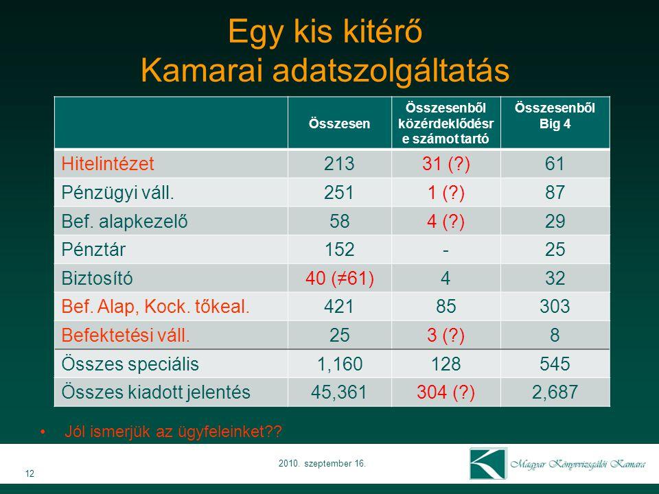 Egy kis kitérő Kamarai adatszolgáltatás 12 2010. szeptember 16.