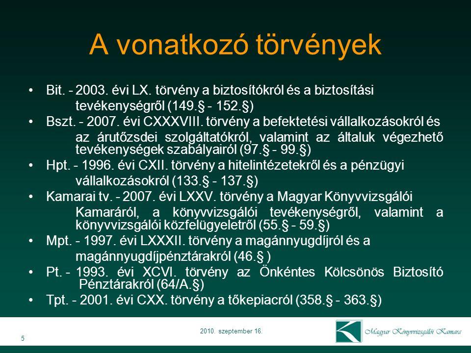 A vonatkozó törvények 5 2010. szeptember 16. Bit.