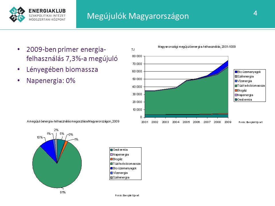 4 Megújulók Magyarországon 2009-ben primer energia- felhasználás 7,3%-a megújuló Lényegében biomassza Napenergia: 0%