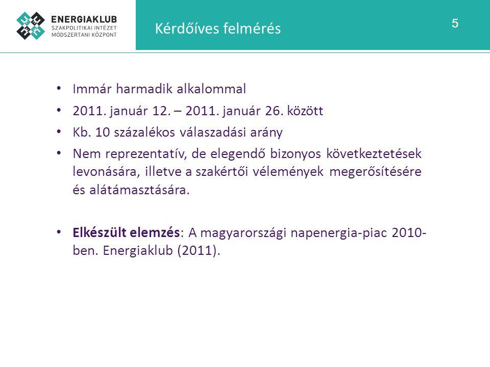 5 Kérdőíves felmérés Immár harmadik alkalommal 2011. január 12. – 2011. január 26. között Kb. 10 százalékos válaszadási arány Nem reprezentatív, de el