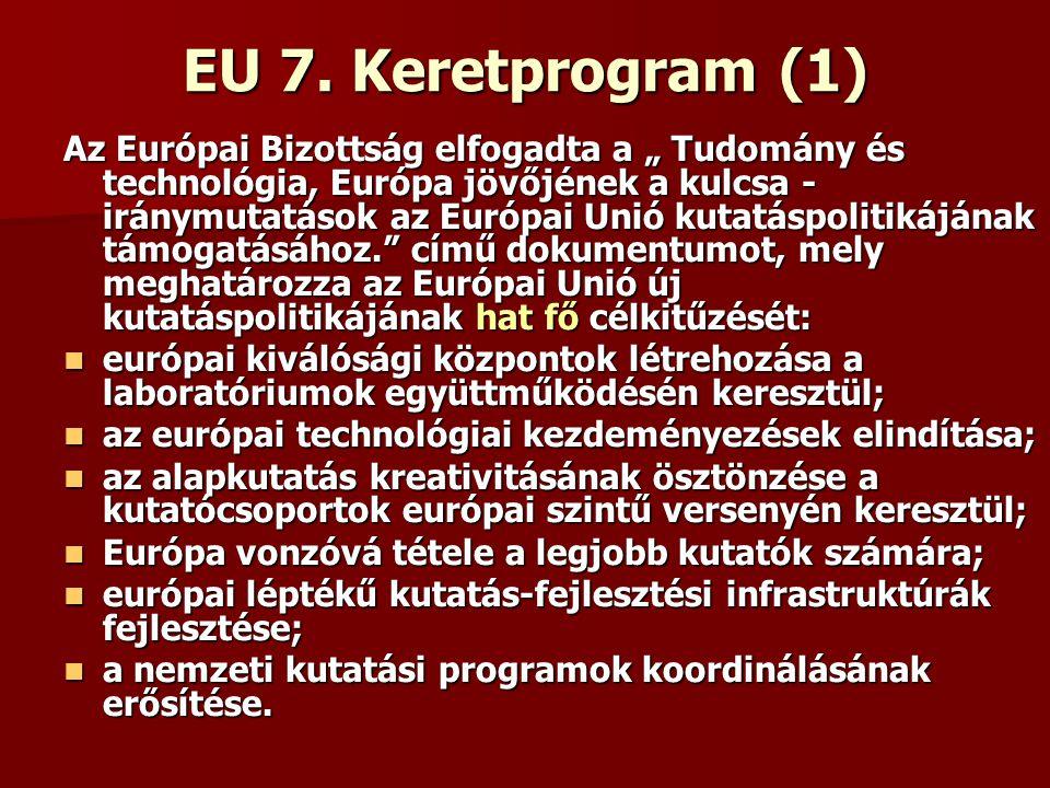 """EU 7. Keretprogram (1) Az Európai Bizottság elfogadta a """" Tudomány és technológia, Európa jövőjének a kulcsa - iránymutatások az Európai Unió kutatásp"""