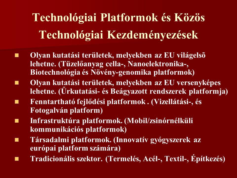 Technológiai Platformok és Közös Technológiai Kezdeményezések Olyan kutatási területek, melyekben az EU világelsõ lehetne. (Tüzelőanyag cella-, Nanoel