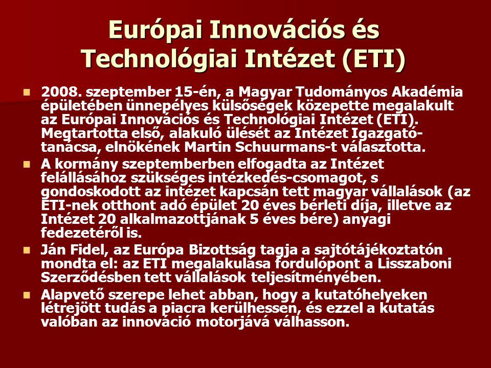 Európai Innovációs és Technológiai Intézet (ETI) 2008. szeptember 15-én, a Magyar Tudományos Akadémia épületében ünnepélyes külsőségek közepette megal