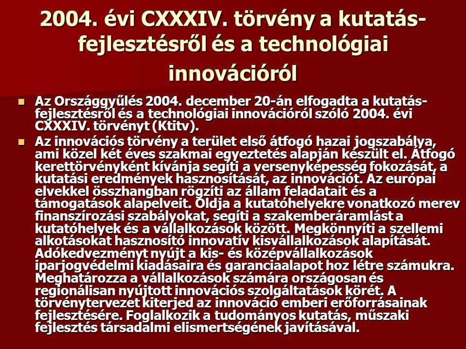 2004. évi CXXXIV. törvény a kutatás- fejlesztésről és a technológiai innovációról Az Országgyűlés 2004. december 20-án elfogadta a kutatás- fejlesztés