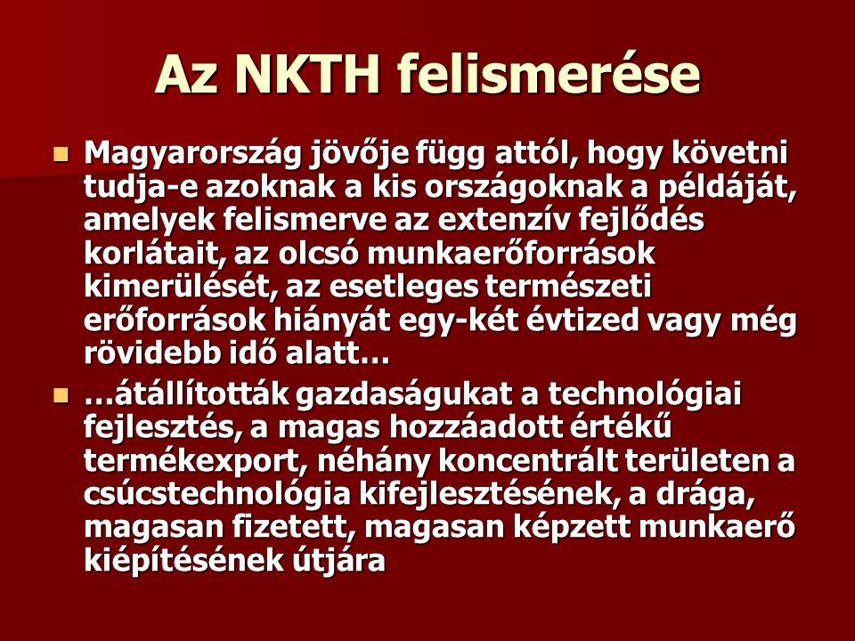 Az NKTH felismerése Magyarország jövője függ attól, hogy követni tudja-e azoknak a kis országoknak a példáját, amelyek felismerve az extenzív fejlődés korlátait, az olcsó munkaerőforrások kimerülését, az esetleges természeti erőforrások hiányát egy-két évtized vagy még rövidebb idő alatt… Magyarország jövője függ attól, hogy követni tudja-e azoknak a kis országoknak a példáját, amelyek felismerve az extenzív fejlődés korlátait, az olcsó munkaerőforrások kimerülését, az esetleges természeti erőforrások hiányát egy-két évtized vagy még rövidebb idő alatt… …átállították gazdaságukat a technológiai fejlesztés, a magas hozzáadott értékű termékexport, néhány koncentrált területen a csúcstechnológia kifejlesztésének, a drága, magasan fizetett, magasan képzett munkaerő kiépítésének útjára …átállították gazdaságukat a technológiai fejlesztés, a magas hozzáadott értékű termékexport, néhány koncentrált területen a csúcstechnológia kifejlesztésének, a drága, magasan fizetett, magasan képzett munkaerő kiépítésének útjára