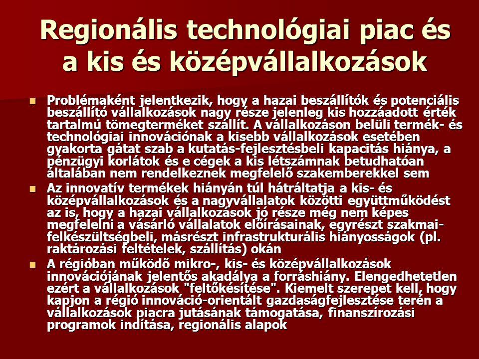 Regionális technológiai piac és a kis és középvállalkozások Problémaként jelentkezik, hogy a hazai beszállítók és potenciális beszállító vállalkozások nagy része jelenleg kis hozzáadott érték tartalmú tömegterméket szállít.
