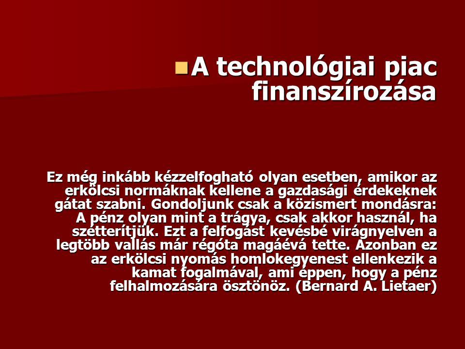 A technológiai piac finanszírozása A technológiai piac finanszírozása Ez még inkább kézzelfogható olyan esetben, amikor az erkölcsi normáknak kellene a gazdasági érdekeknek gátat szabni.