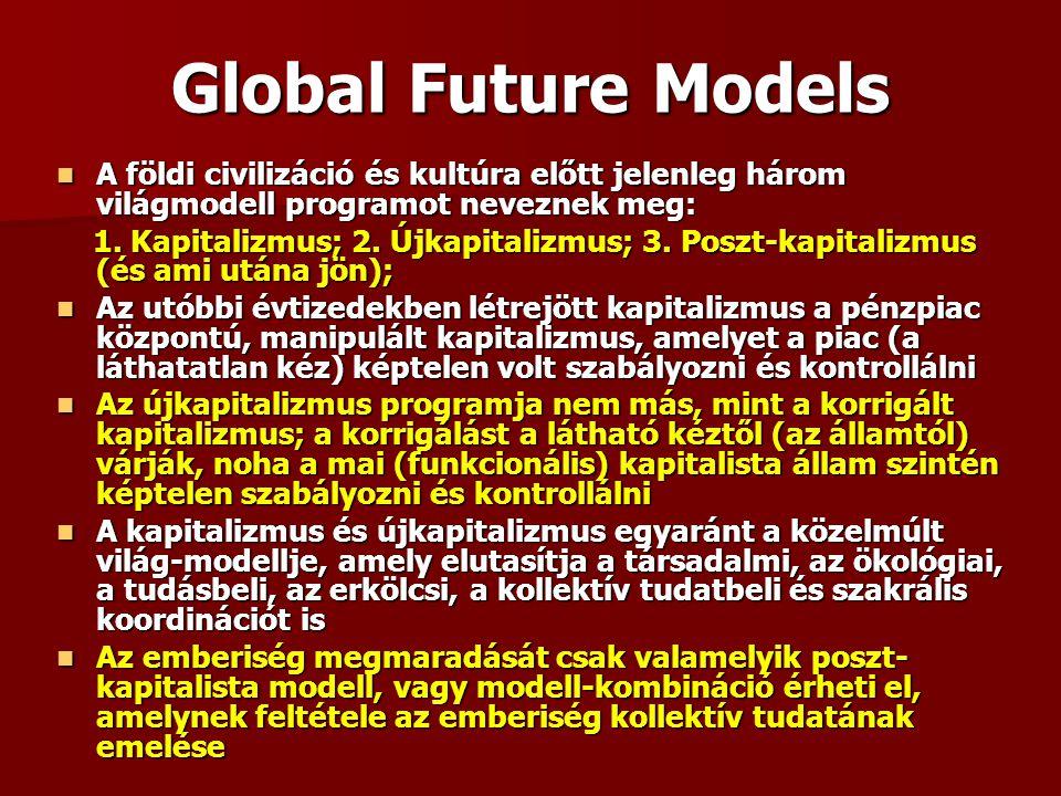 Global Future Models A földi civilizáció és kultúra előtt jelenleg három világmodell programot neveznek meg: A földi civilizáció és kultúra előtt jelenleg három világmodell programot neveznek meg: 1.