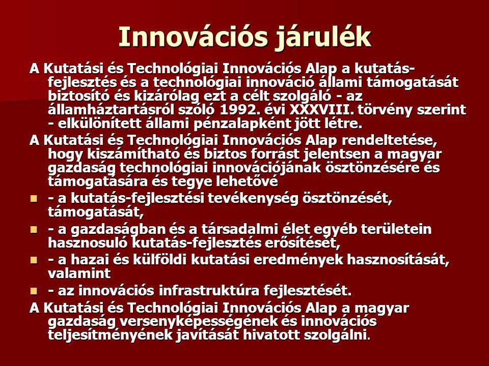 Innovációs járulék A Kutatási és Technológiai Innovációs Alap a kutatás- fejlesztés és a technológiai innováció állami támogatását biztosító és kizáró