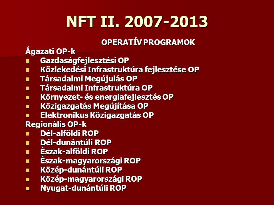 NFT II. 2007-2013 OPERATÍV PROGRAMOK OPERATÍV PROGRAMOK Ágazati OP-k Gazdaságfejlesztési OP Gazdaságfejlesztési OP Közlekedési Infrastruktúra fejleszt