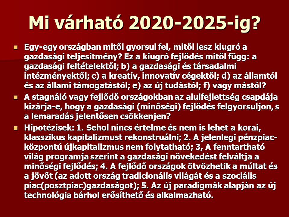 Mi várható 2020-2025-ig? Egy-egy országban mitől gyorsul fel, mitől lesz kiugró a gazdasági teljesítmény? Ez a kiugró fejlődés mitől függ: a gazdasági