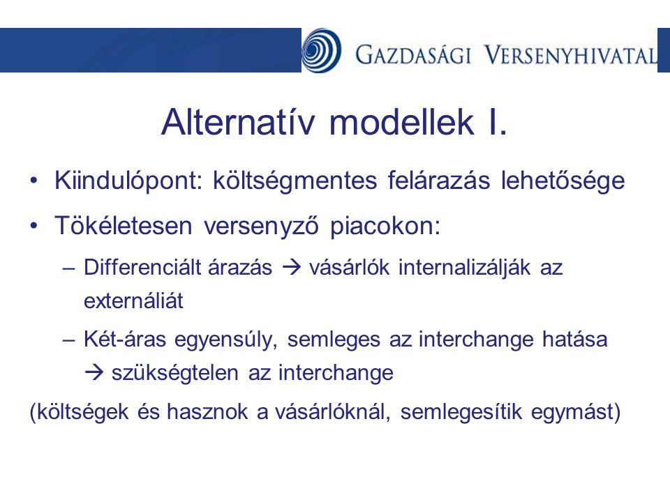 Alternatív modellek I. Kiindulópont: költségmentes felárazás lehetősége Tökéletesen versenyző piacokon: –Differenciált árazás  vásárlók internalizálj