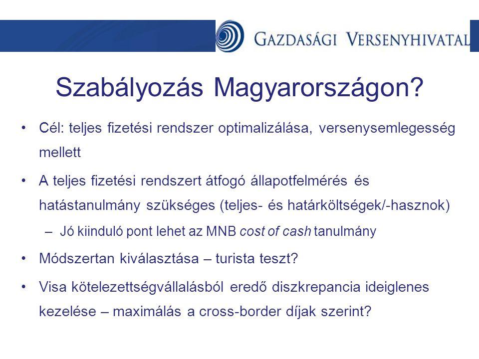 Szabályozás Magyarországon? Cél: teljes fizetési rendszer optimalizálása, versenysemlegesség mellett A teljes fizetési rendszert átfogó állapotfelméré