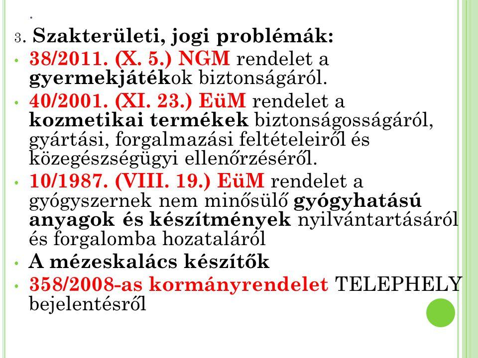 . 3. Szakterületi, jogi problémák: 38/2011. (X. 5.) NGM rendelet a gyermekjáték ok biztonságáról. 40/2001. (XI. 23.) EüM rendelet a kozmetikai terméke