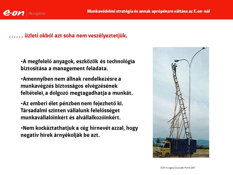 E.ON Hungária Corporate Profile 2007 …… üzleti okból azt soha nem veszélyeztetjük.